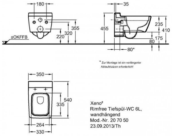 Anleitung Keramag Xeno 2 Tiefspül-WC 54x35 cm wandhängend ohne Spülrand weiß