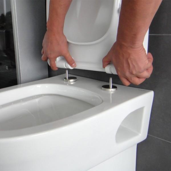 Neuesbad 4000 Wand-Tiefspül-WC Nanobeschichtung WC-Sitz mit Absenkautomatik weiß