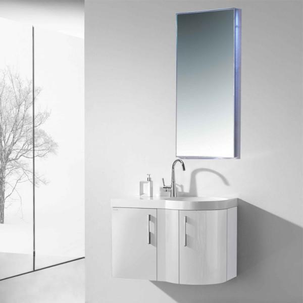 Neuesbad 3000 Badmöbelset 80 cm Breite mit Waschtisch, Unterschrank und Spiegel Farbe weiß Hochglanz rechts