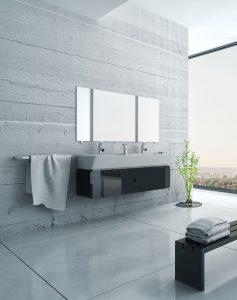 Modernes Bad aufteilen