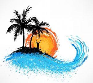 Sonnenuntergang mit Palmen und Wellen