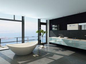Zeitgenössisches Bad mit moderner Einrichtung