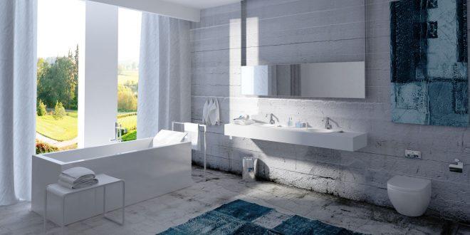 Modernes Bad mit Teppich und Vorhängen