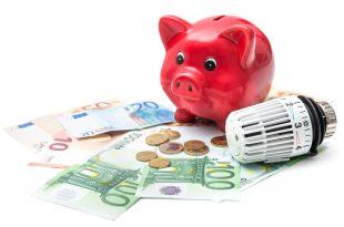 Rotes Sparschwein steht über Geld nebendran ein Thermosthat
