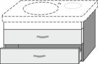 Sanipa Waschtischunterschrank 2morrow MM63215, Ulme Natural-Touch, H:435, B:730, T:457 mm