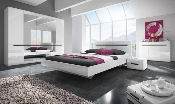 Bett HL1-32, 186 cm x 35 cm x 205 cm, weiss/weisshochglanz/schwarz