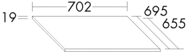 Burgbad Apdeckplatte Sys30 PG4 19x702x655 Hellrot Hochglanz, APDF070F3361