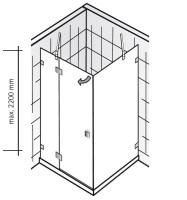 HSK Atelier Pur AP.23 Drehtür an Nebenteil und Seitenwand