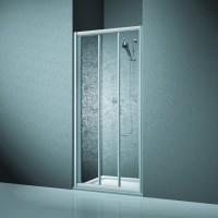 Koralle Twiggy Top Duschschiebetür 3-teilig für Trennwand oder Nische, DSTT 3 75x185, Silber matt, A