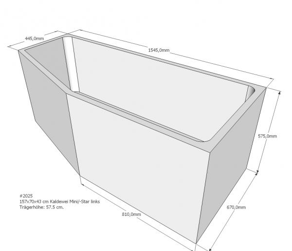 Neuesbad Wannenträger für Kaldewei Mini/Mini Star Nr.836/837 157x70 li