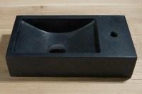 Naturstein Waschbecken, B: 400, T: 220, H: 100 mm, Version rechts, Material: basalt G684