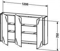 Duravit Spiegelschrank Ketho T:180, B:1200, H:750mm, KT75330