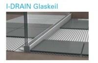 I-DRAIN Glaskeil links 0,98 m, Edelstahl, gebürstet,h5 19mm, h1 34mm