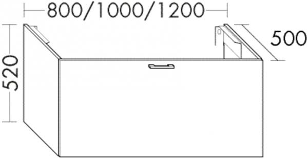 Burgbad Waschtischunterschrank Sys30 PG4 520x800x500 Anthrazit Hochglanz, WUYT080F3366