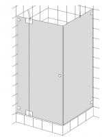 HSK K.23 Drehtür mit 180° Beschlag an Nebenteil und Seitenwand
