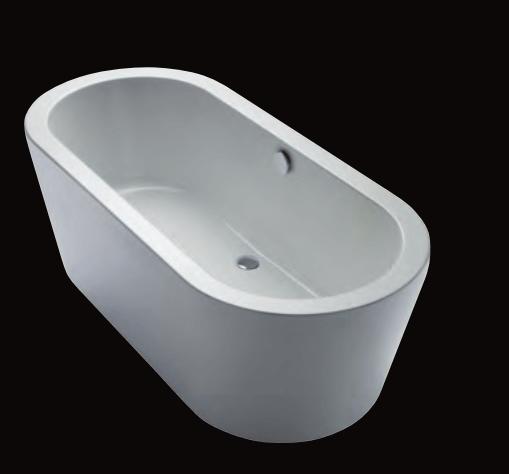 Livorno 180/80 oval F freistehende Badewanne, L: 1800, B: 800, H: 610 mm, weiss 31670W