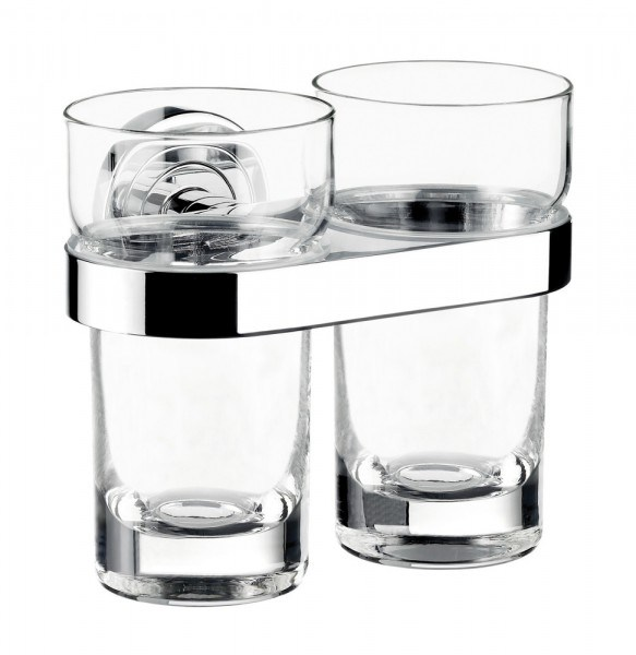Emco polo Doppelglashalter, Kristallglas klar, chrom, 072500100