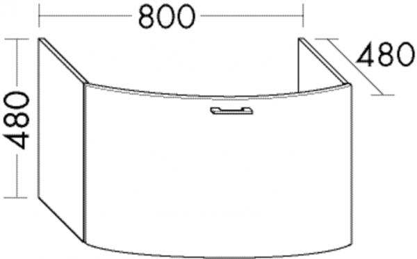 Burgbad Waschtisch-Unterschrank Sys30 PG4 480x800x480 Weiß Hochglanz, WUYB080F3359