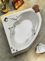Eckwanne Cascade 1400 mm, weiß mit Whirlpoolsystem Typ 2 Luxus, chrom inklusive Wasserschwallarmatur