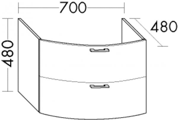 Burgbad Waschtischunterschrank Sys30 PG4 480x700x480 Sand Hochglanz, WUYO070F3360