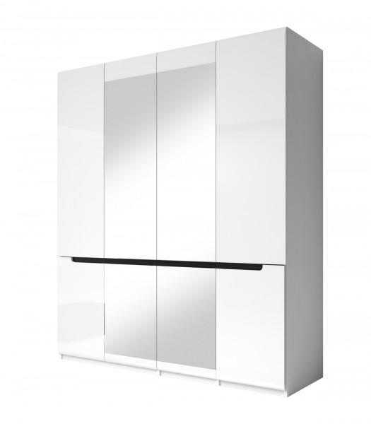 Drehtürenschrank HL1-20, 181 cm x 213 cm x 60 cm, weiss/weisshochglanz/schwarz