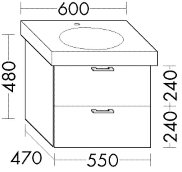 Burgbad Waschtischunterschrank Sys30 PG4 480x550x470 Eiche Fineline Hellgrau, WUUZ055F3447