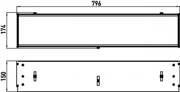 Emco asis Einbaurahmen für, Unterputz-Ablagemodule, 800mm, 971200081