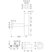 Hansgrohe Design Siphon Set Flowstar Axor chrom mit zwei Eckventilen und Schubern, 51304000