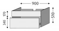 Sanipa Waschtischunterschrank mit Auszügen 2morrow MT31014, Pinie-Grau