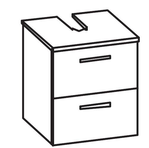 Artiqua 400 Universalwaschtischunterschrank, Anthrazit Hochglanz, 400-WB2L-1-45-7015-51