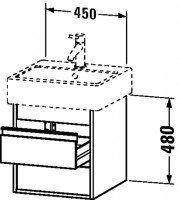 Duravit Waschtischunterschrank wandhängend Ketho T:440, B:450, H:480mm, KT6635 , Front/Korpus: pine