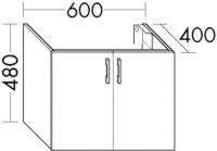 Burgbad Waschtisch-Unterschrank Sys30 PG2 480x800x400 Weiß Hochglanz, WVIK080461