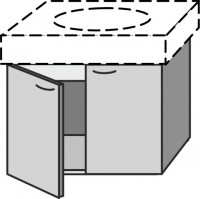 Sanipa Waschtischunterschrank mit Türen 2day EG39916, Sand, H:475, B:525, T:535 mm