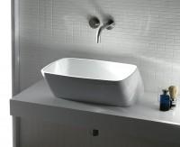Axa one Serie 138 Aufsatzwaschtisch ohne Hahnloch, B: 400, T: 500 mm, weiss glänzend