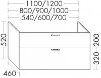 Burgbad Waschtischunterschrank Sys30 PG2 520x1200x460 Weiß Hochglanz, WSDA120461