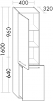 Burgbad Hochschrank Crono HGL 1600x400x320 Schilf Hochglanz, HSGQ040LF1799