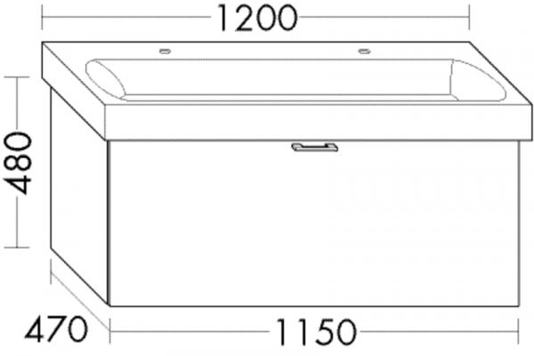 Burgbad Waschtischunterschrank Sys30 PG4 480x1150x470 Weiß Hochglanz, WUVB115F3359