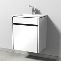 Sanipa TwigaGlas Waschtischunterbau mit Glas-Waschtisch und 1 Tür, Weiß-Glanz, SY22678