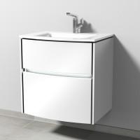 Sanipa TwigaGlas Waschtischunterbau mit Glas-Waschtisch, LED-Beleuchtung, Weiß-Glanz, SY23278