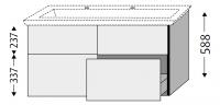 Sanipa Waschtischunterschrank mit Auszügen 3way BR81443, Weiss-Soft