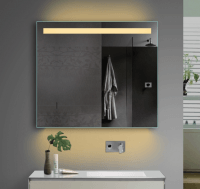 Neuesbad LED Lichtspiegel mit Steckdose, Lichtfarbe wählbar, B:1000, H:700 mm