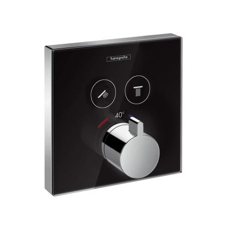 Hansgrohe Thermostat Unterputz ShowerSelect Glas 2 Verbraucher schwarz/chrom, 15738600 , 15738600