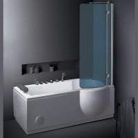 Neuesbad TS Duschbadewanne Whirlpool 168x 85, mit Duschabtrennung, Version rechts