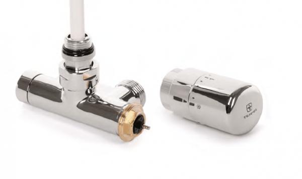 Terma Mittelanschlussgarnitur mit integriertem Lanzenventil, Eckversion, links, chrom
