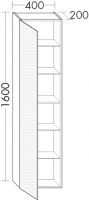 Burgbad Hochschrank Pli HGL 1600x400x200 Weiß Hochglänzend, HSAE040LF0135