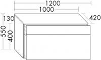 Burgbad Sideboard Pli HGL 550x1200x420 Weiß Hochglänzend, KOAB120F0135
