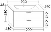 Burgbad Keramik-Waschtisch und Waschtischunterschrank Sys30 PG2 Weiß Hochglanz/Alpinweiss, SFAW09346