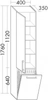 Burgbad Hochschrank cala 1760x400x350 Weiß Hochglanz , HS4086LC40