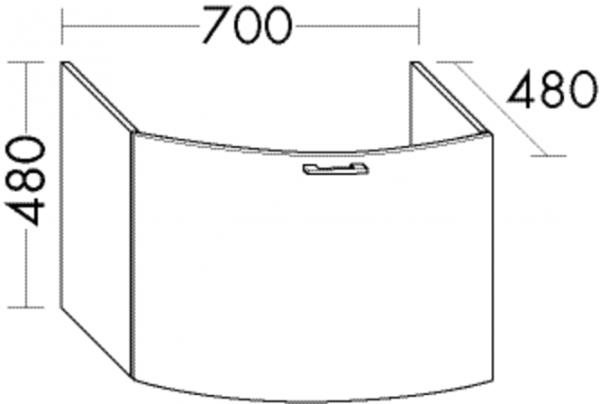 Burgbad Waschtischunterschrank Sys30 PG4 480x700x480 Schilf Hochglanz, WUYN070F3362