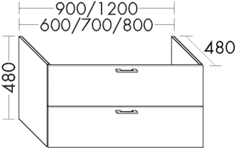 Image of Burgbad Waschtischunterschrank Sys30 PG3 480x600x480 Weiß Hochglanz, WUGR060F1507 WUGR060F1507